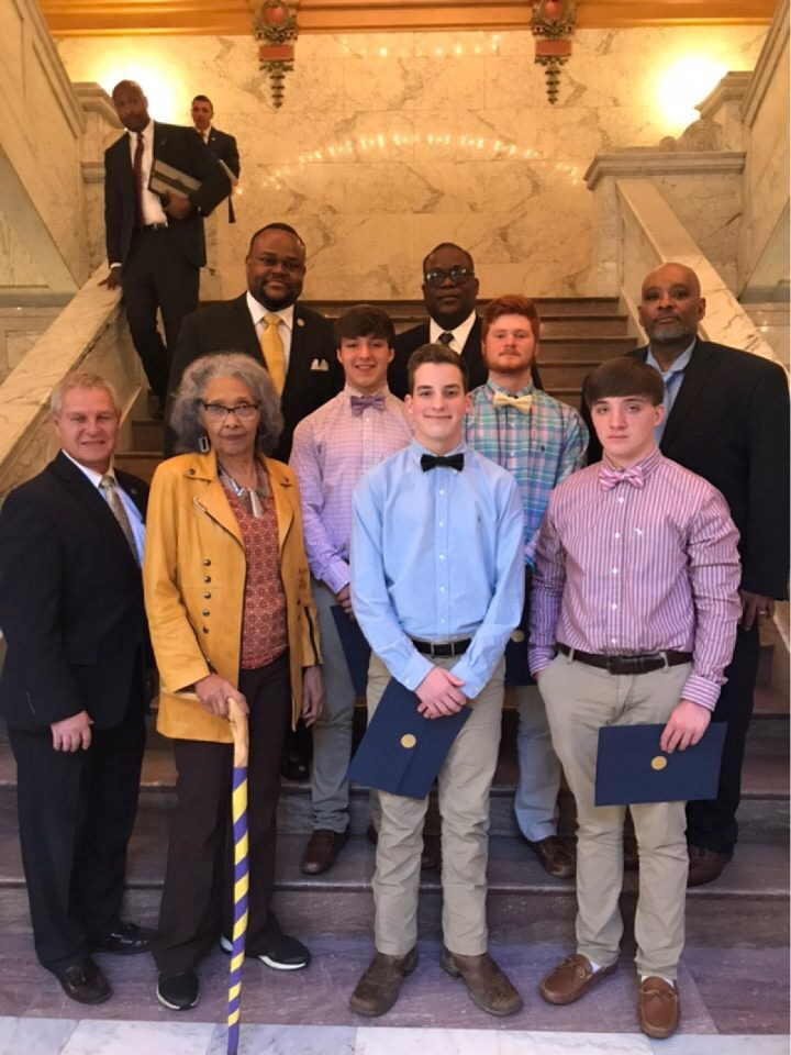 Students recognized at the State Capitol.