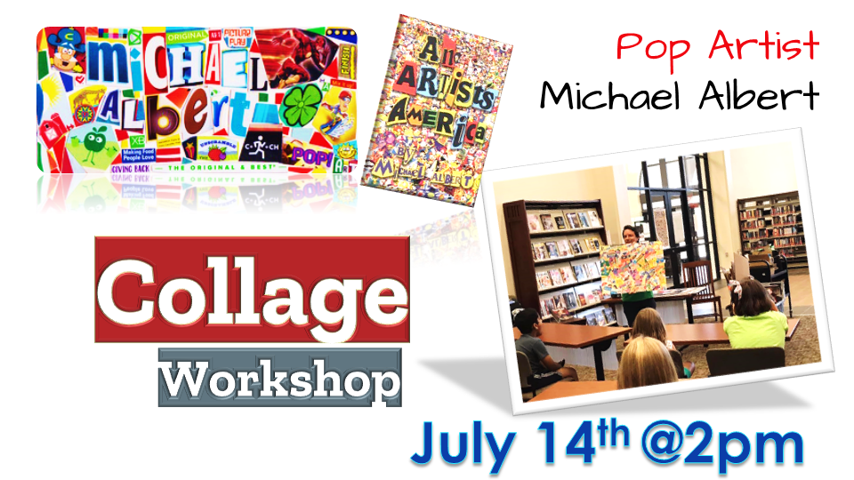 New York based Collage Artist, Michael Albert will be hosting an in-person program at Spanish Fort Public Library on Wednesday, July 14, 2021 at 2 p.m. This Collage Workshop program is open to all ages.