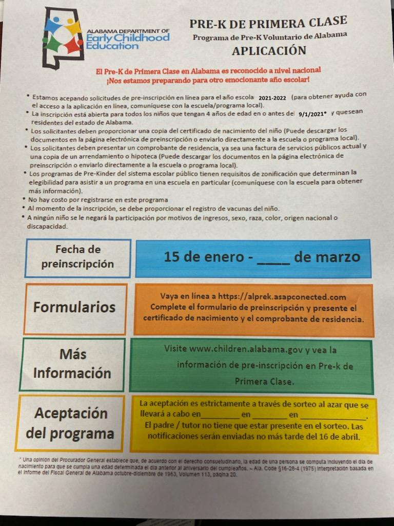 Pre Kindergarten information in Spanish