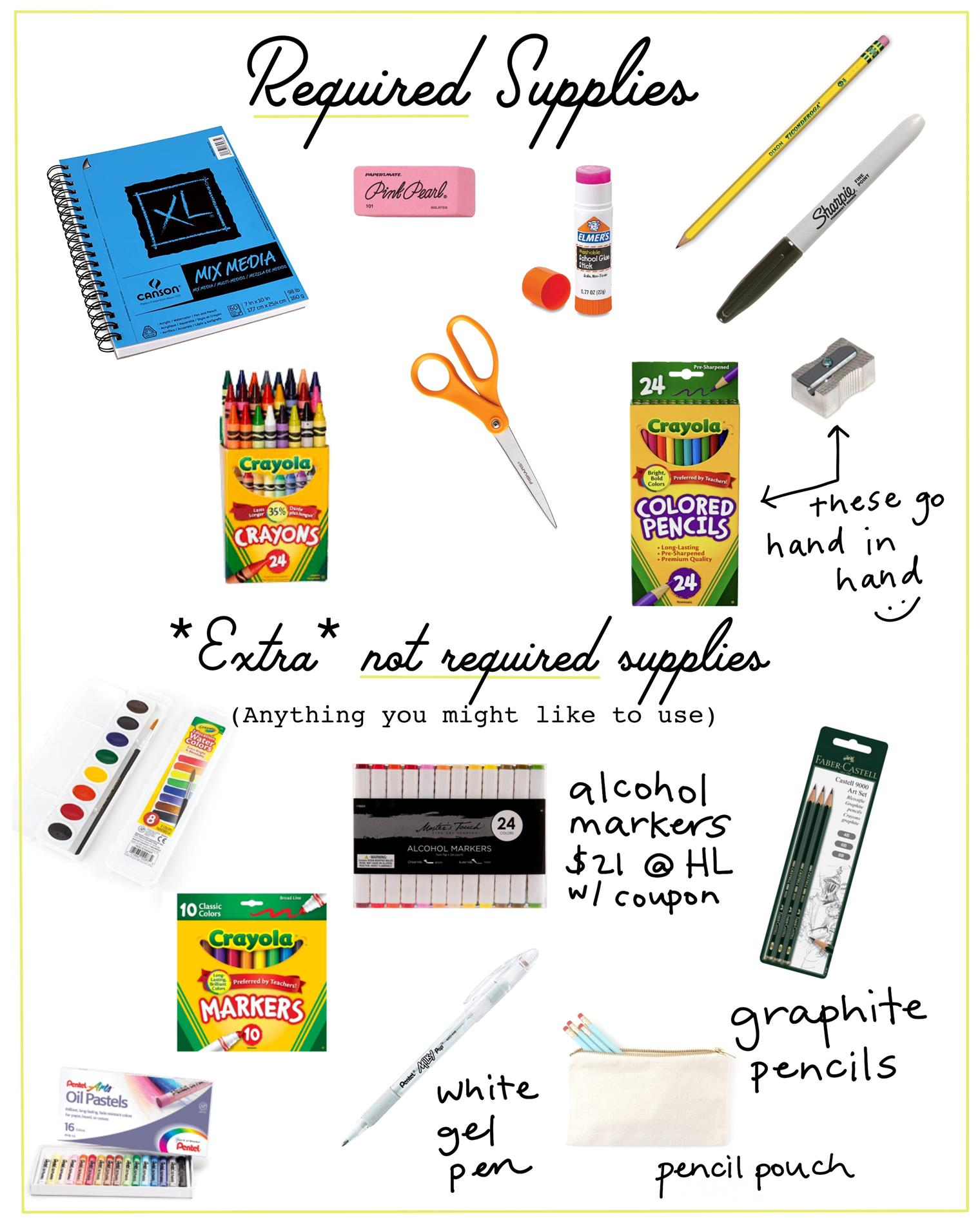 Required and extra fun supplies!