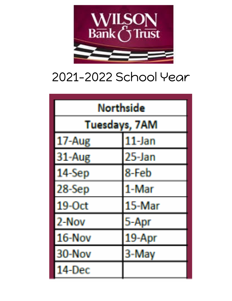 Dates for the 2021-2022 Wilson Bank and Trust student banking