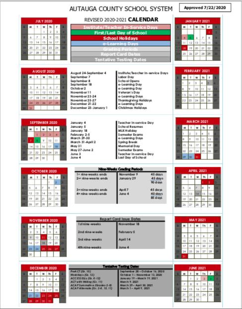 Revised 2020-2021 ACBOE School Year Calendar