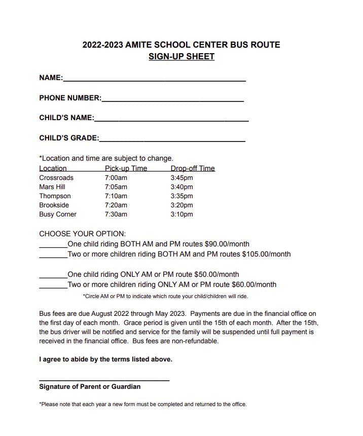 Bus Sign Up Sheet