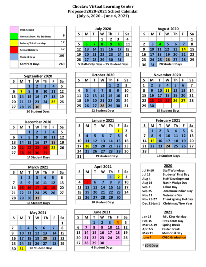 CVLC 2020-2021 Calendar