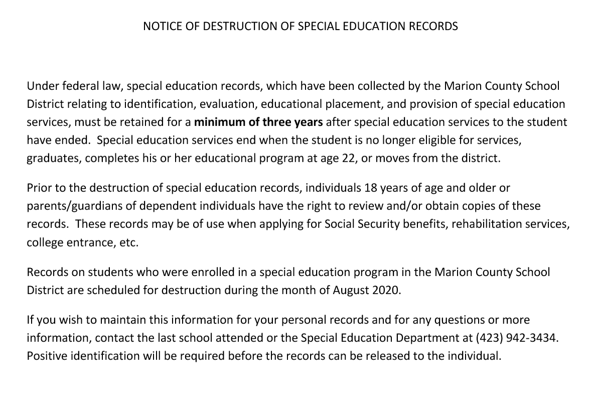 Notice of Destruction of School Records