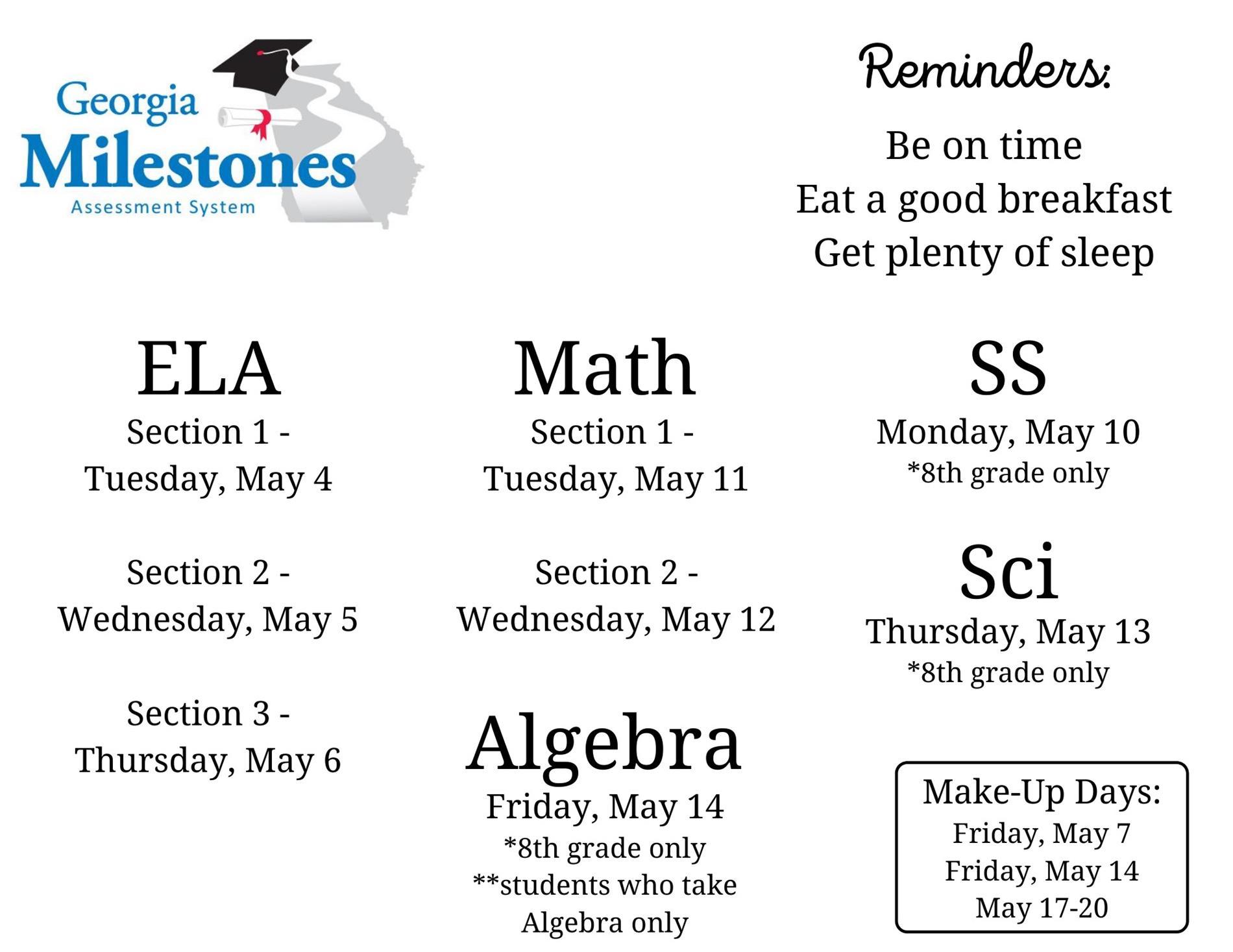 Ga. Milestones Testing Dates