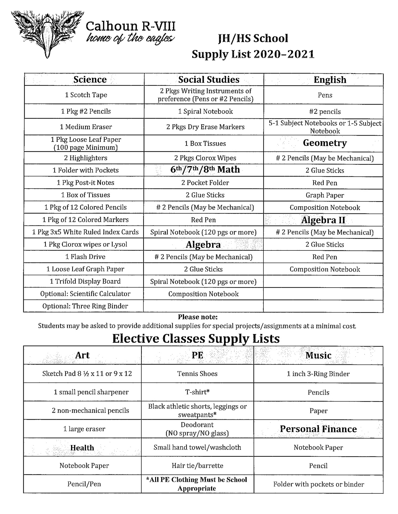 JH/HS Supply List