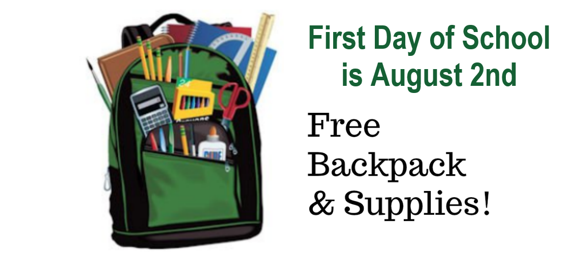 First Day of School - Free Backpack and School Supplies