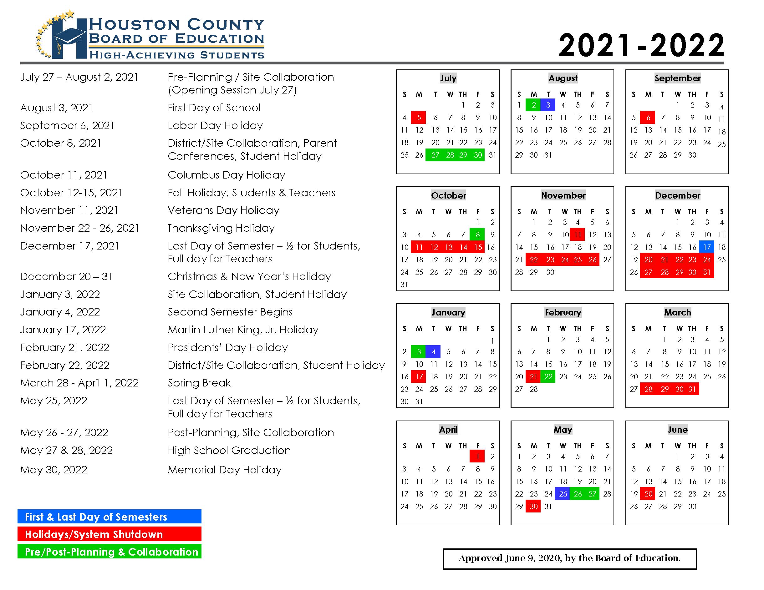 Calendar Houston County Schools