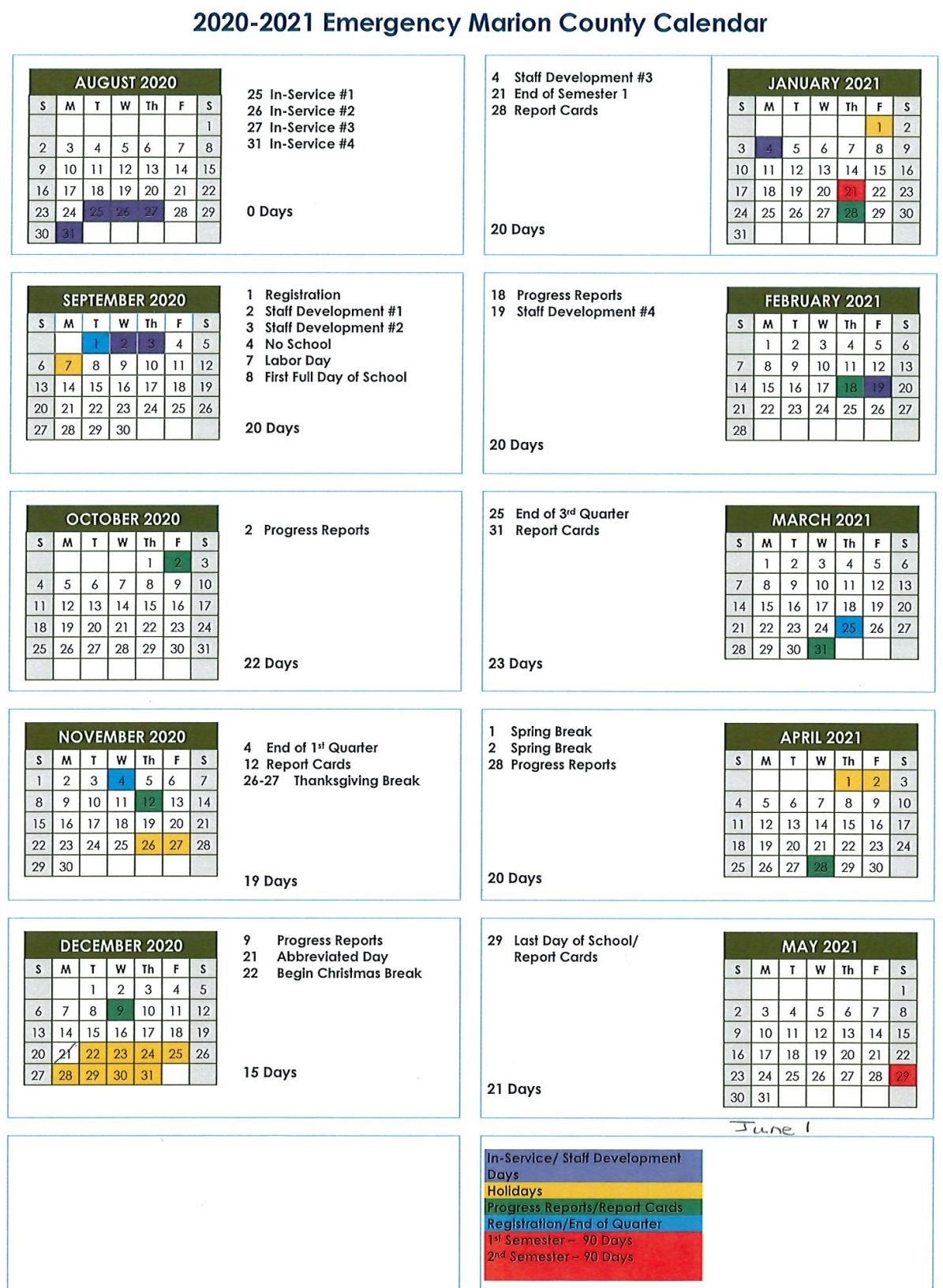2020-2021 Marion County School Calendar