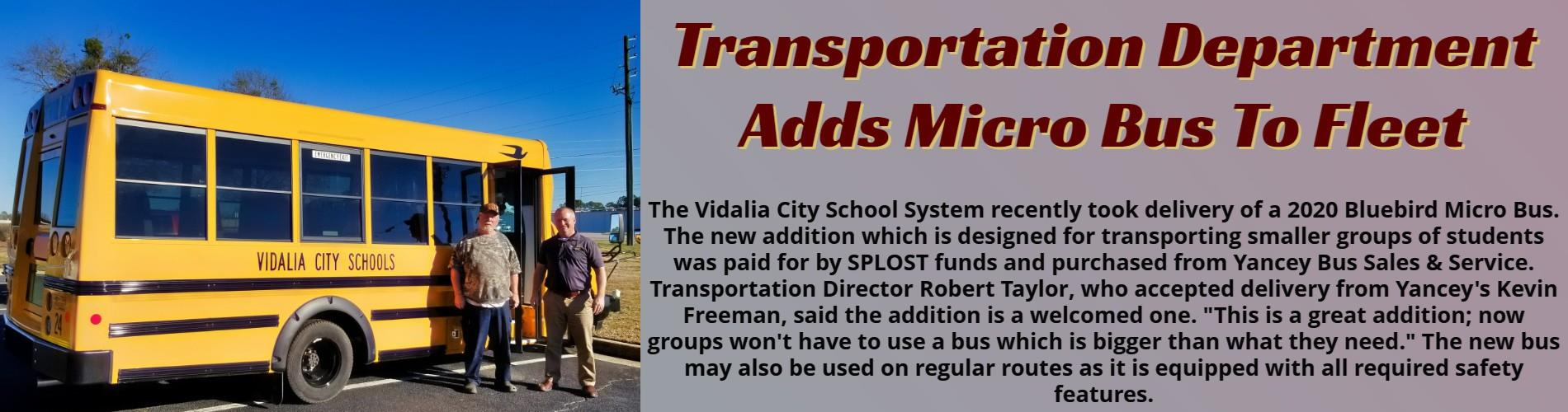 New Micro Bus Delivered to Transportation Department