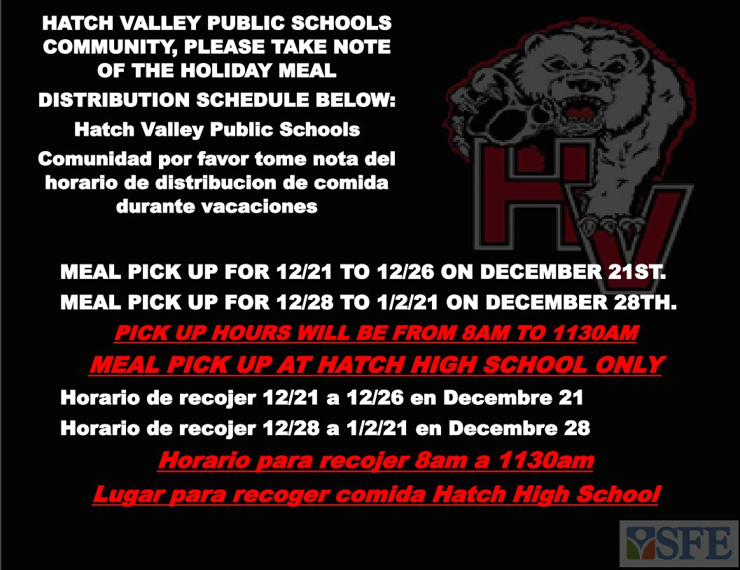 The Holiday Meal Distribution Schedule