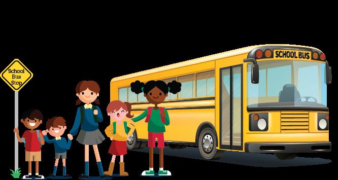 Clip art of school children at bus stop