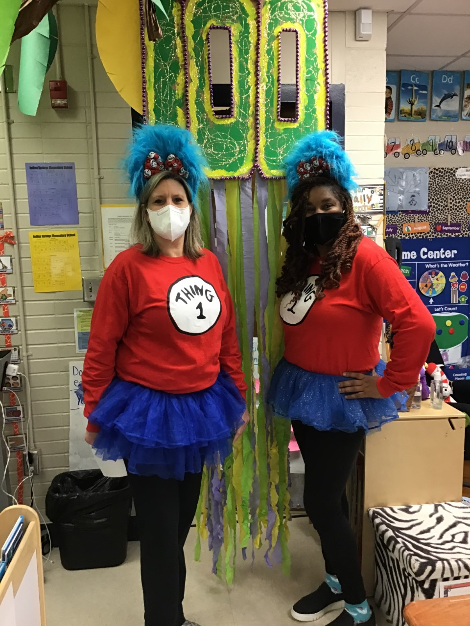 Teachers with 100 Day decoration