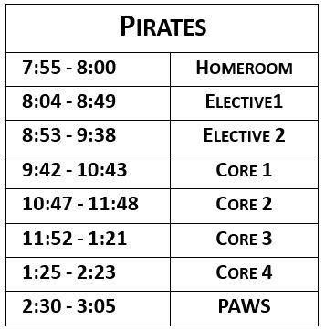 pirate team schedule