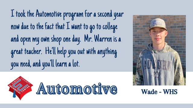I took the Automotive program for a second year now due to the fact that I want to go to college and open my own shop one day.  Mr. Warren is a great teacher.  He'll help you out with anything you need, and you'll learn a lot.