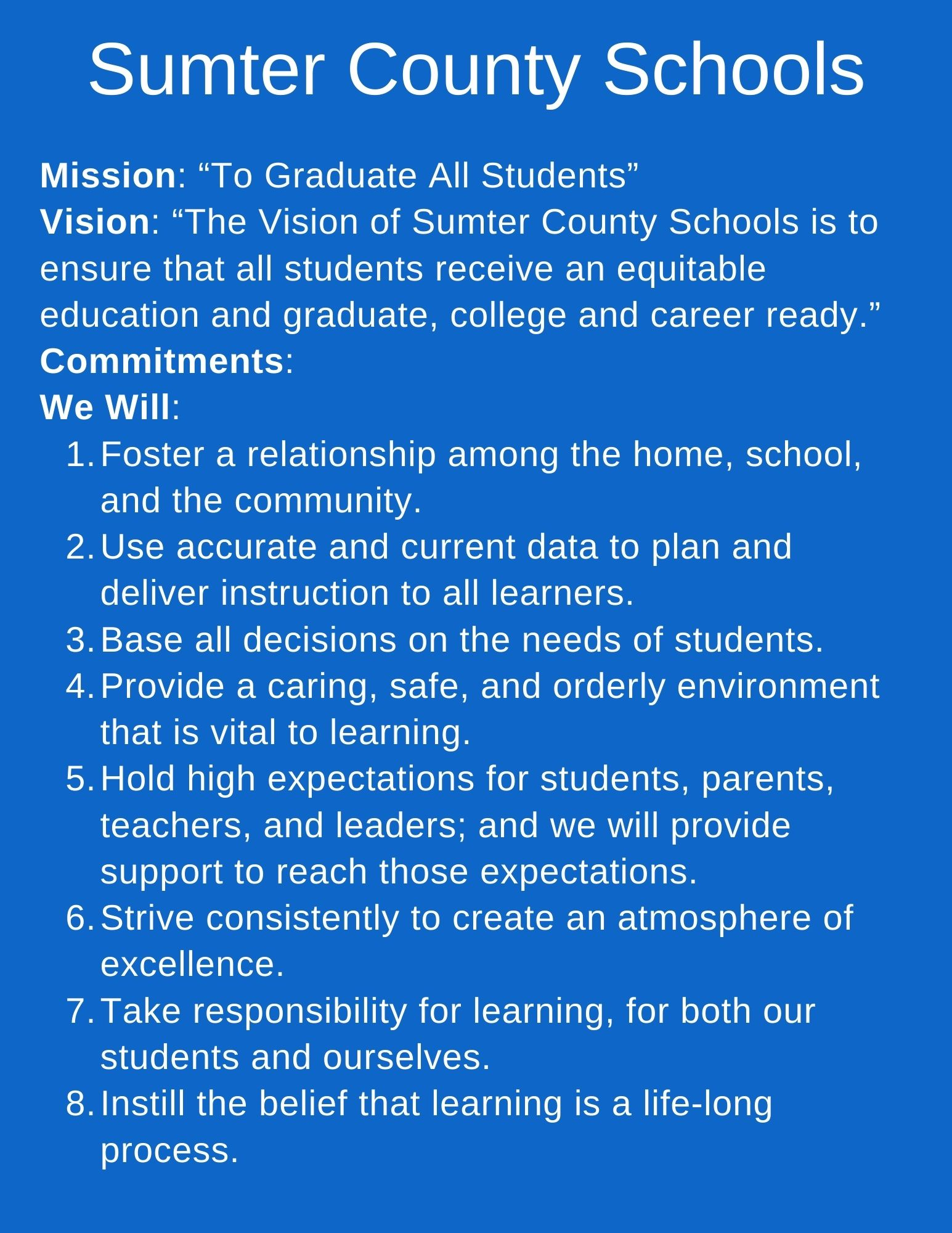 Sumter County Schools Mission and Vision Statement