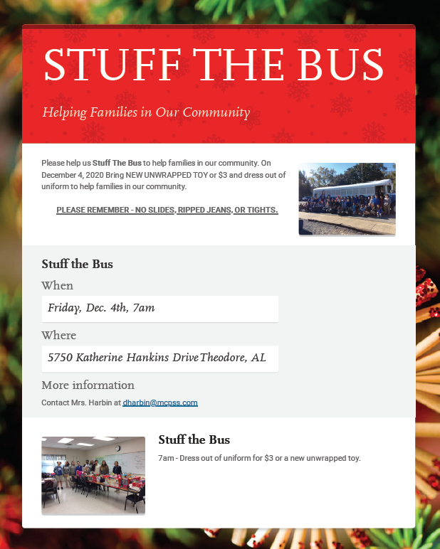 Stuffing the bus date and information