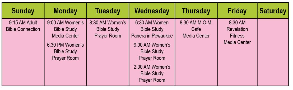 Women's Ministry Schedule