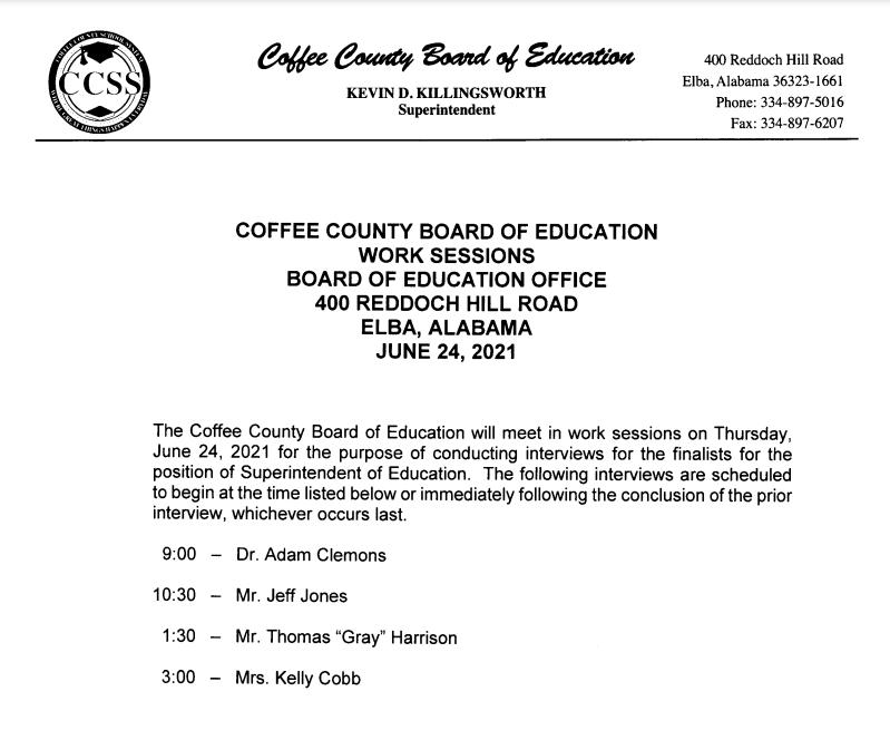 Superintendent Interview Board Announcement