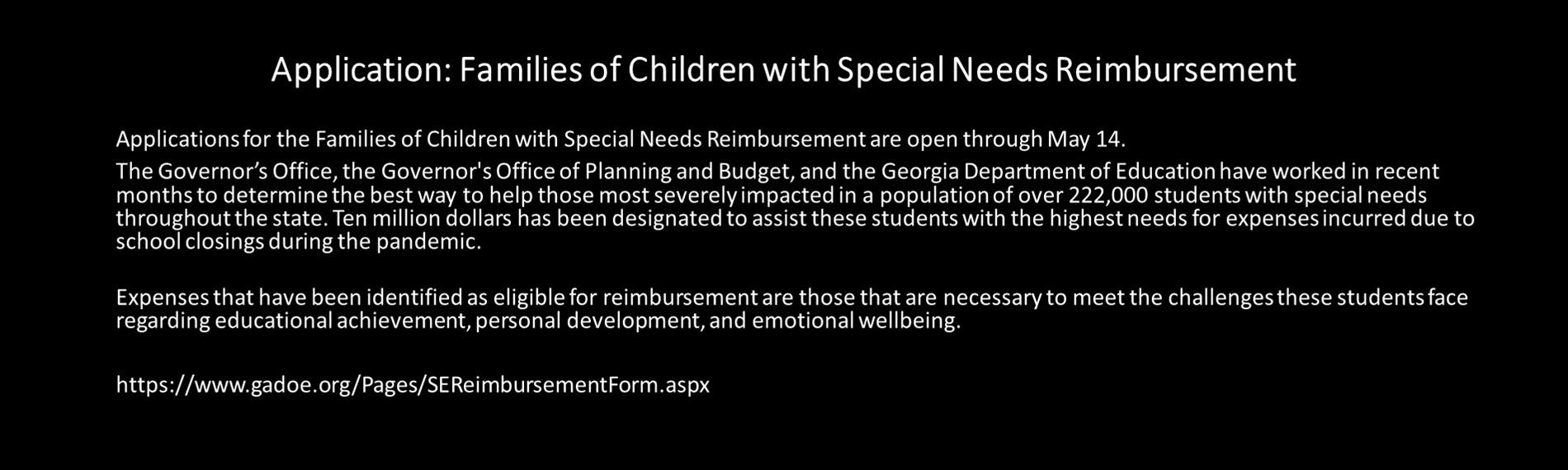 Application: Families of Children with Special Needs Reimbursement