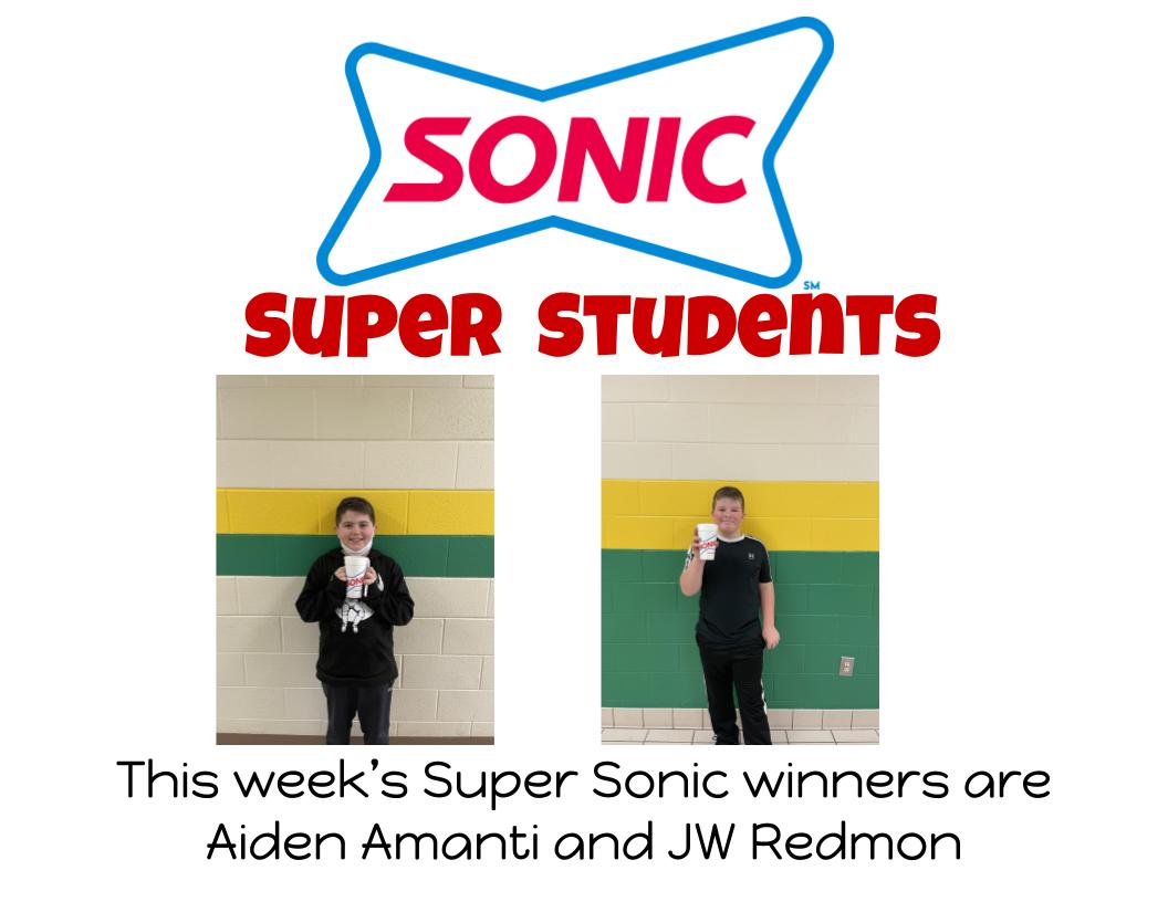 This week's Super Sonic winners are Aiden Amanti and JW Redmon