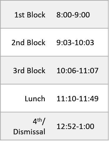 Early Release Bell Schedule. Download Bell Schedule PDF for full details