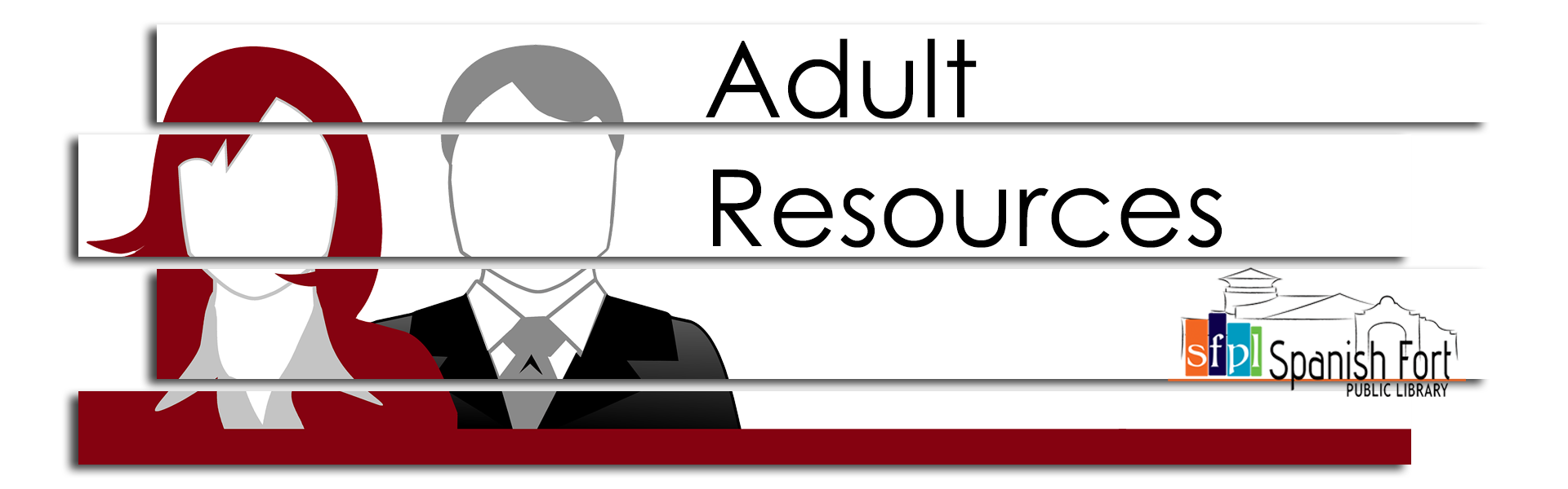 Adult Resources image banner with male and female figures in business attire shown from chest up burgundy and white color palette