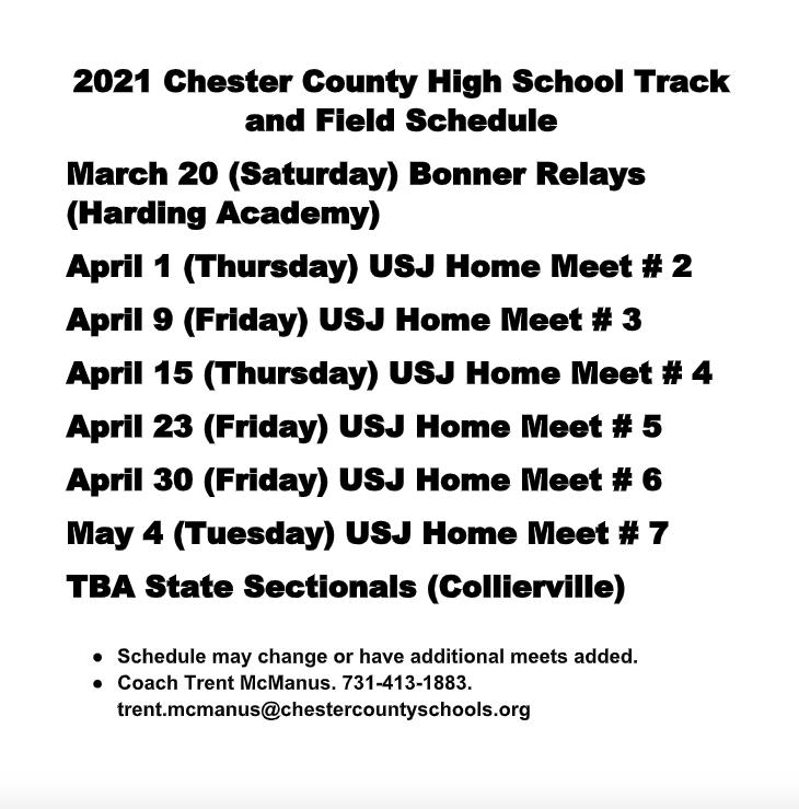 2021 Track&Field Schedule