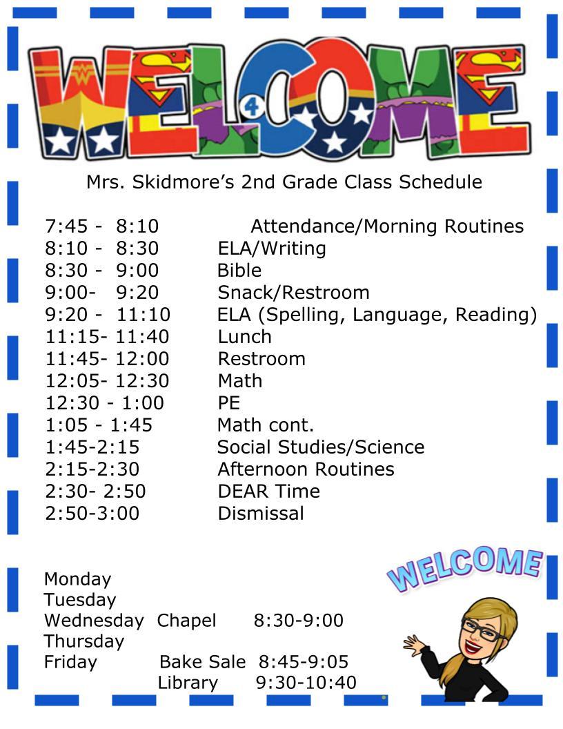 Mrs. Skidmore's Class Schedule 2021
