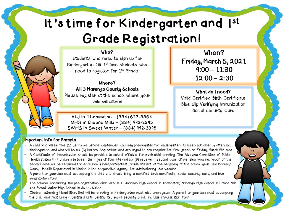 Kindergarten and 1st REgistration