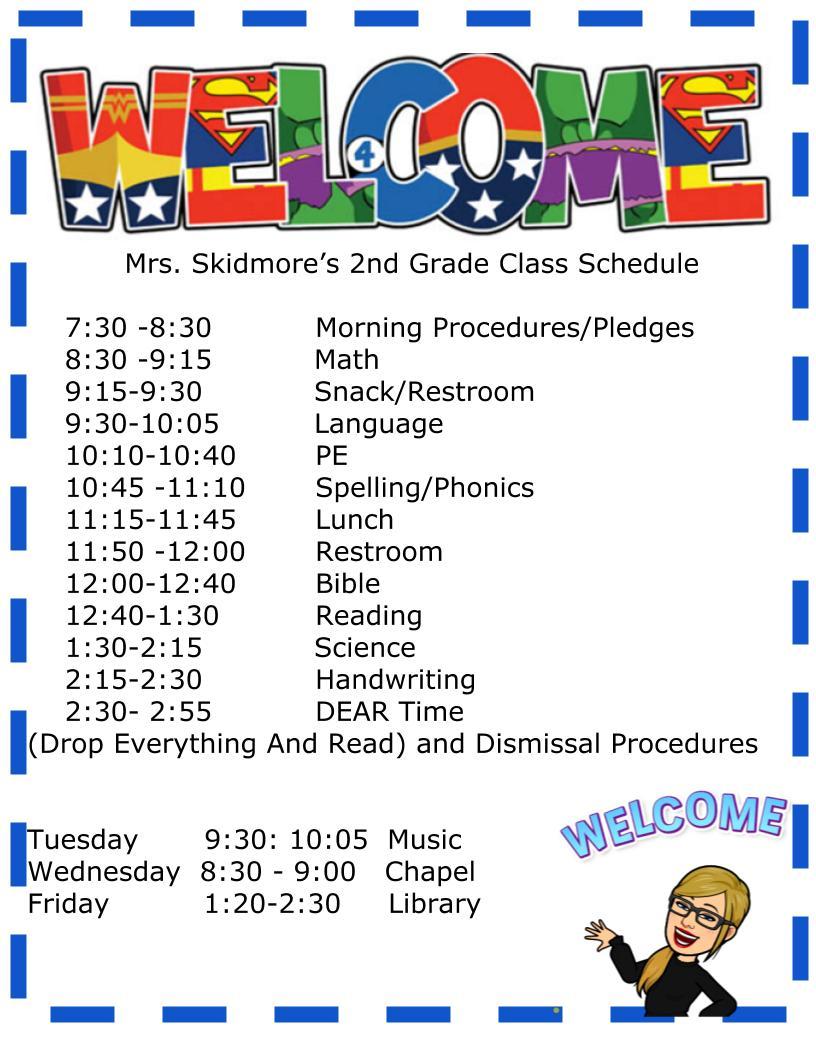 Class Schedule 2021