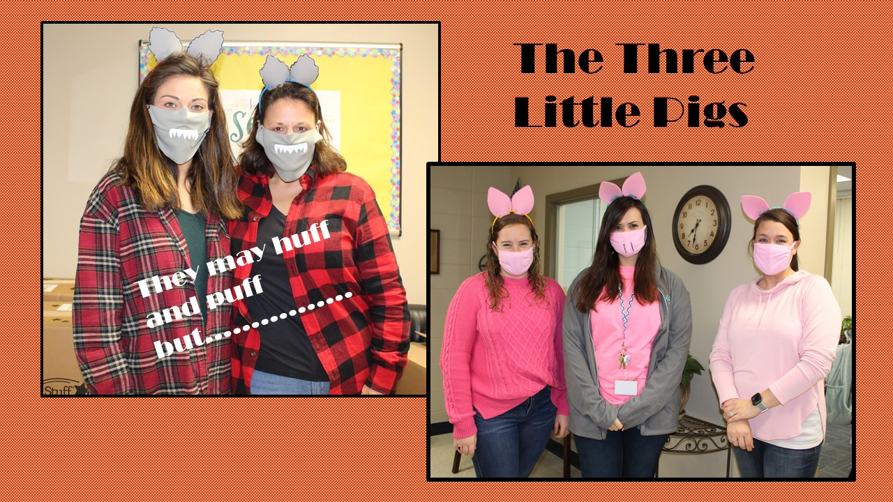Two dressed as big bad wolves and three as little pigs.