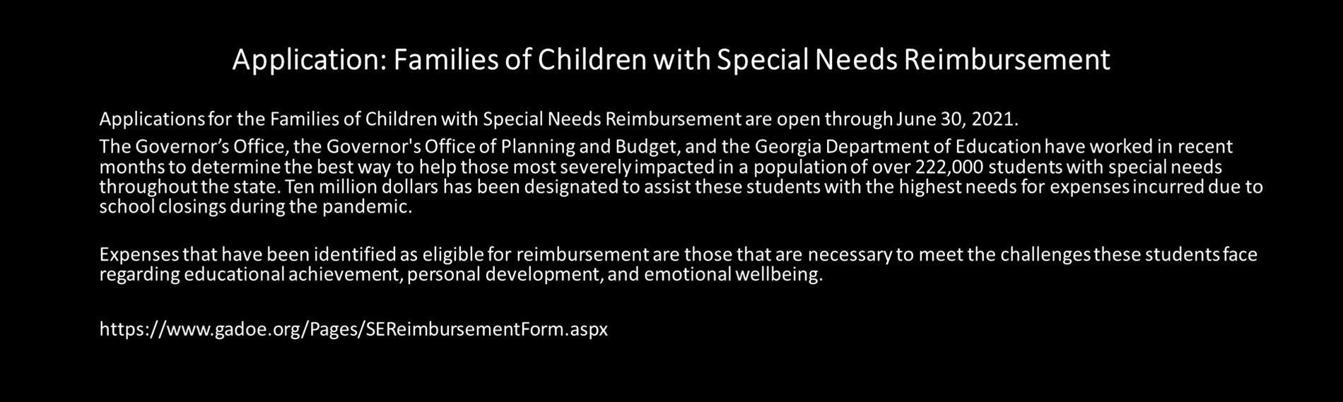 Application: Families of Children with Special Needs Reimbursement