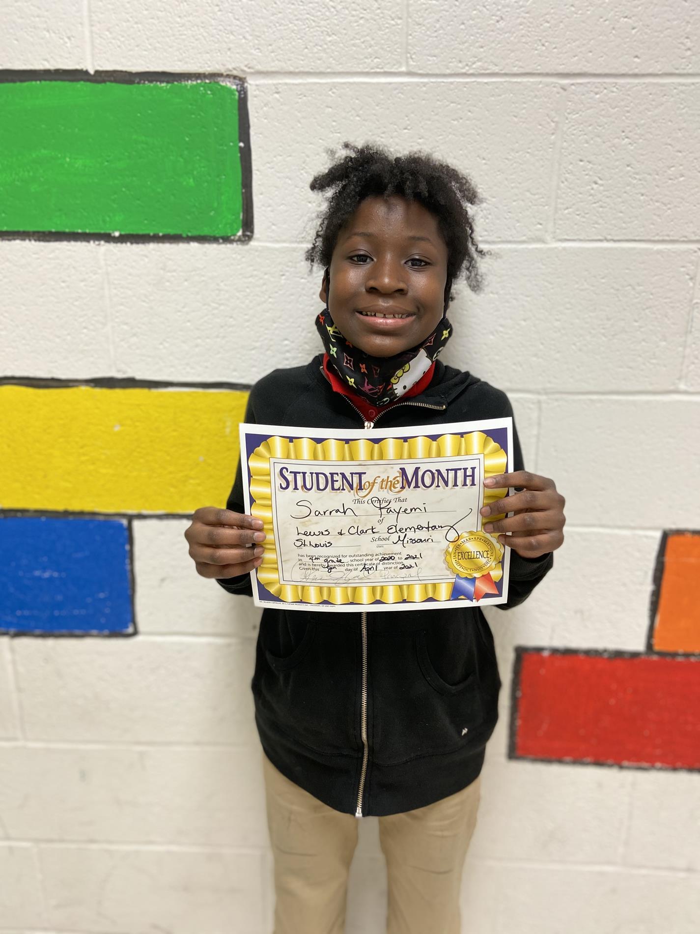 Sarrah Fayemi 4th Grade