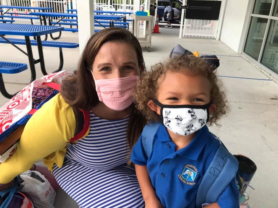 Teacher and Student Wearing Masks