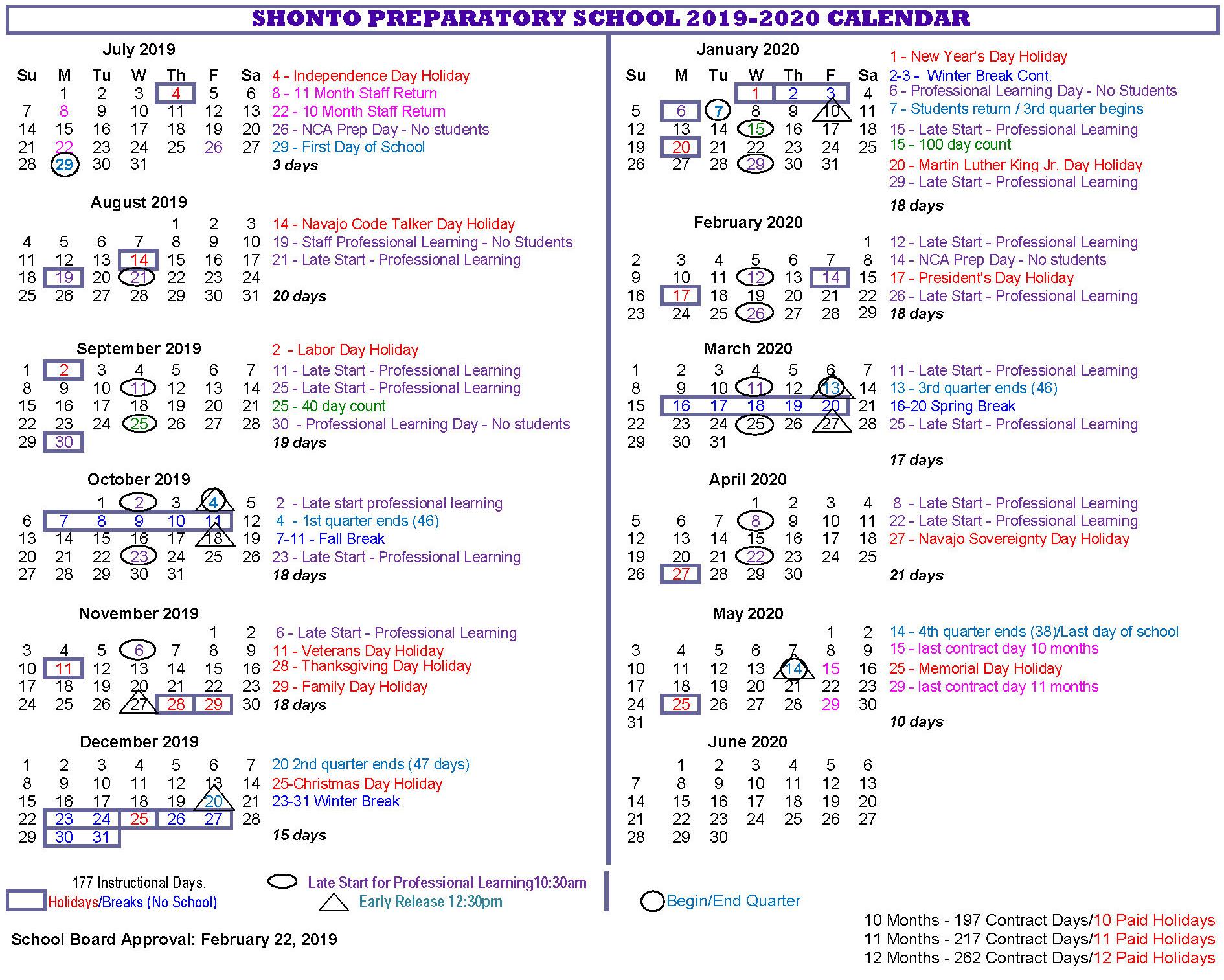 District School Year Calendar