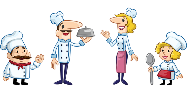 Cartoon characters dressed as chefs