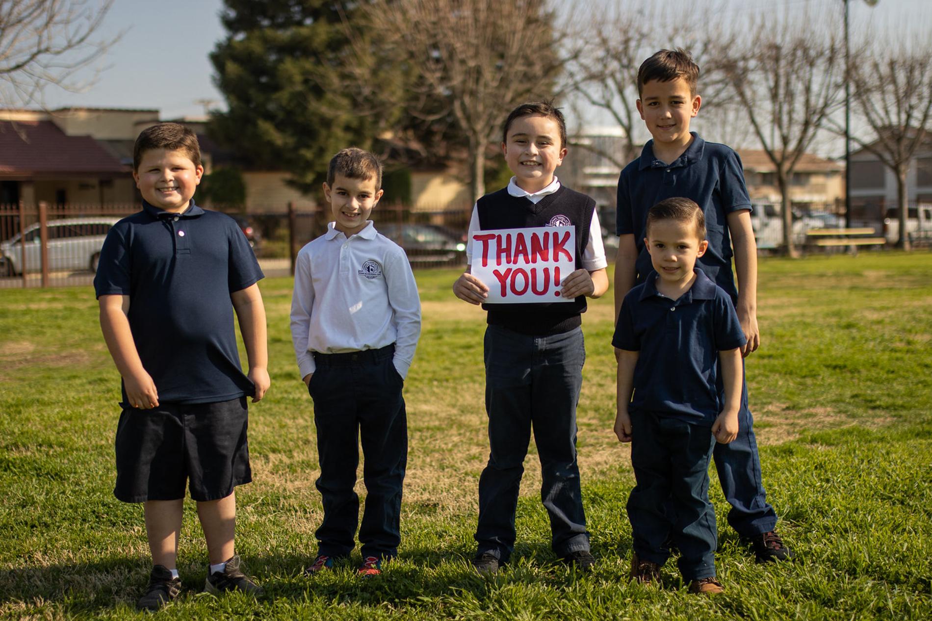 Boys say Thank You