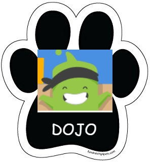 Class Dojo pawprint with link to sign up instructions