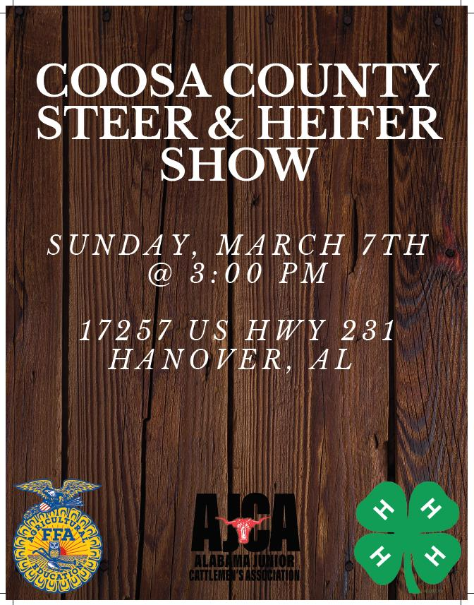 Coosa County Steer & Heifer Show Flyer