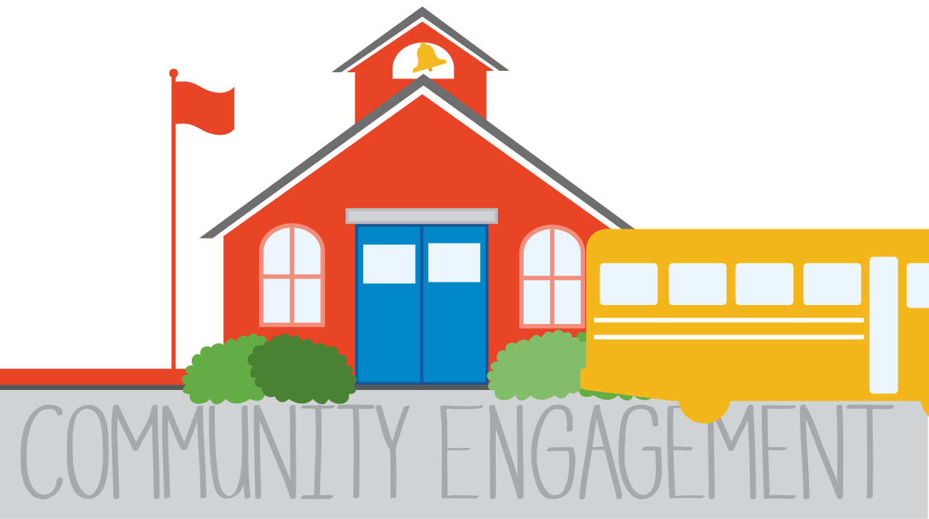School, bus, community engagement