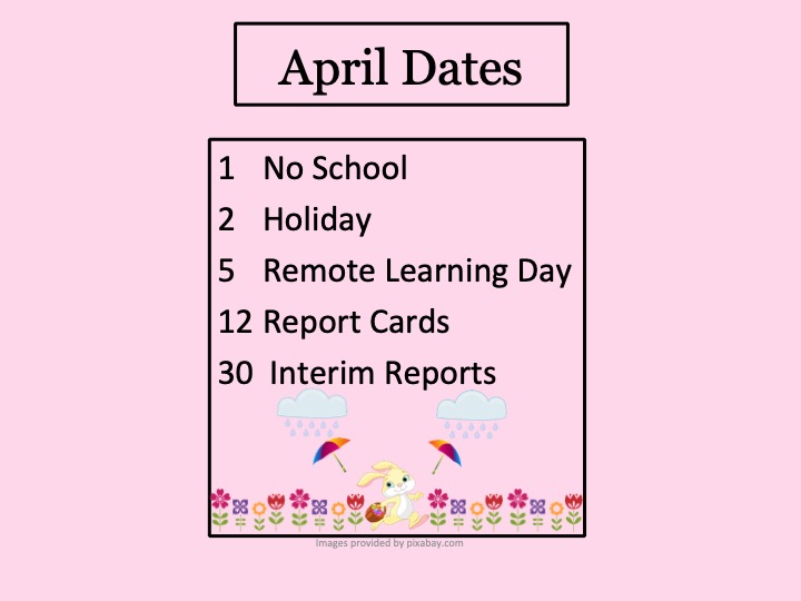 April Events with rain, umbrellas, flowers and Easter bunny with basket