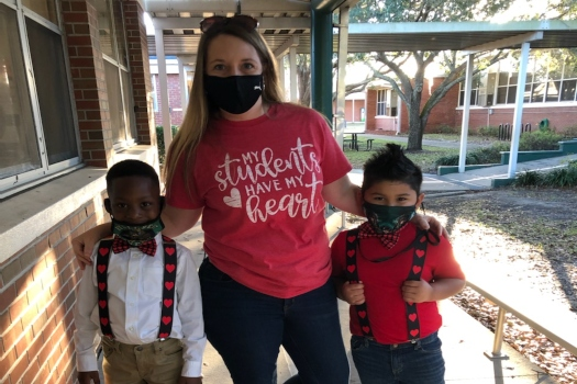 Mrs. Dent & Students Wear Red