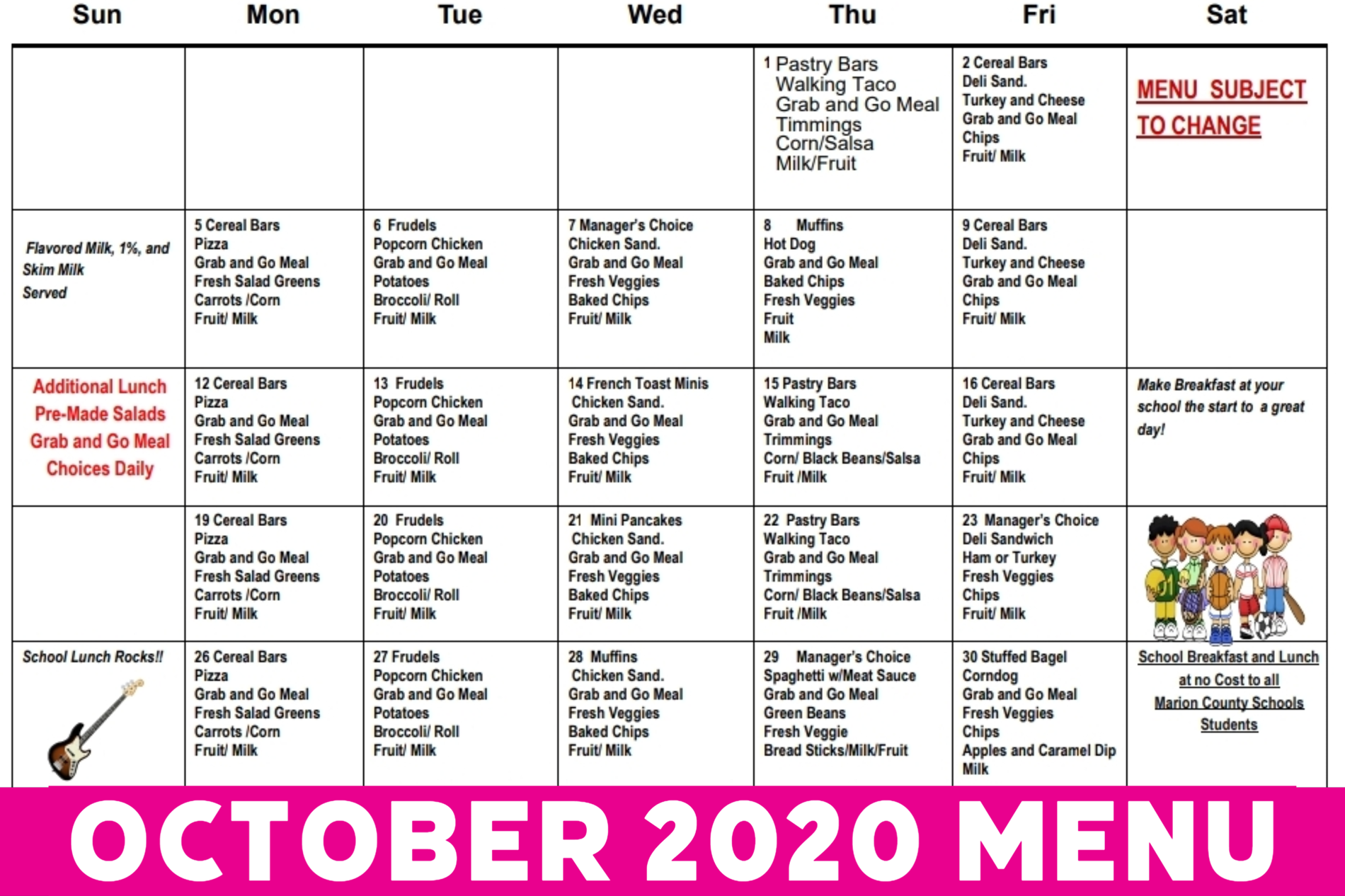 October Cafeteria Menu