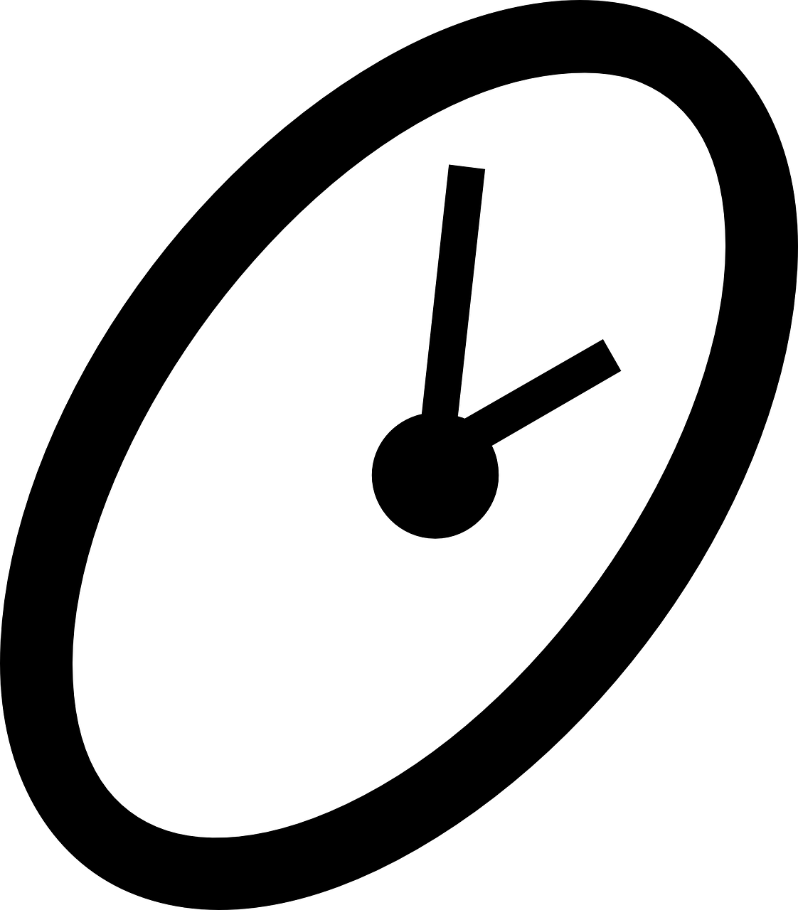 black and white line drawing of a clock