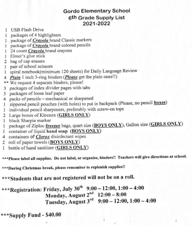 Supply List for 2021-2022 School Year