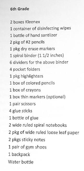 6th supplies