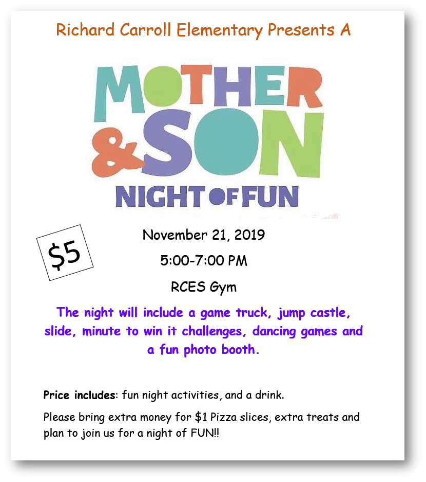 Mother and Son Night of Fun November 21, 2019. 5 to 7 PM. RCES Gym