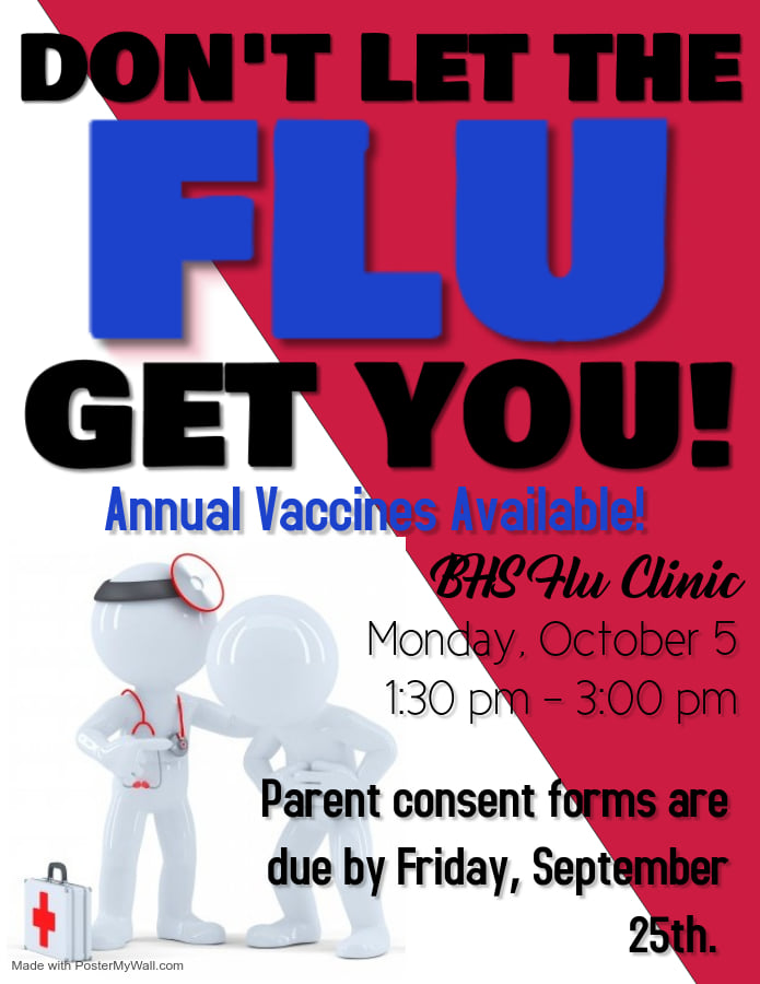 Flu Vaccine Flyer for Bowdon High School on October 5th